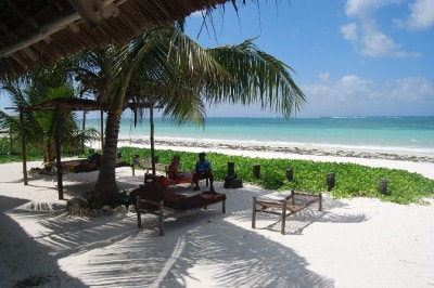 Cocktails, sun, sea and Indian Ocean at Bwejuu in Zanzibar